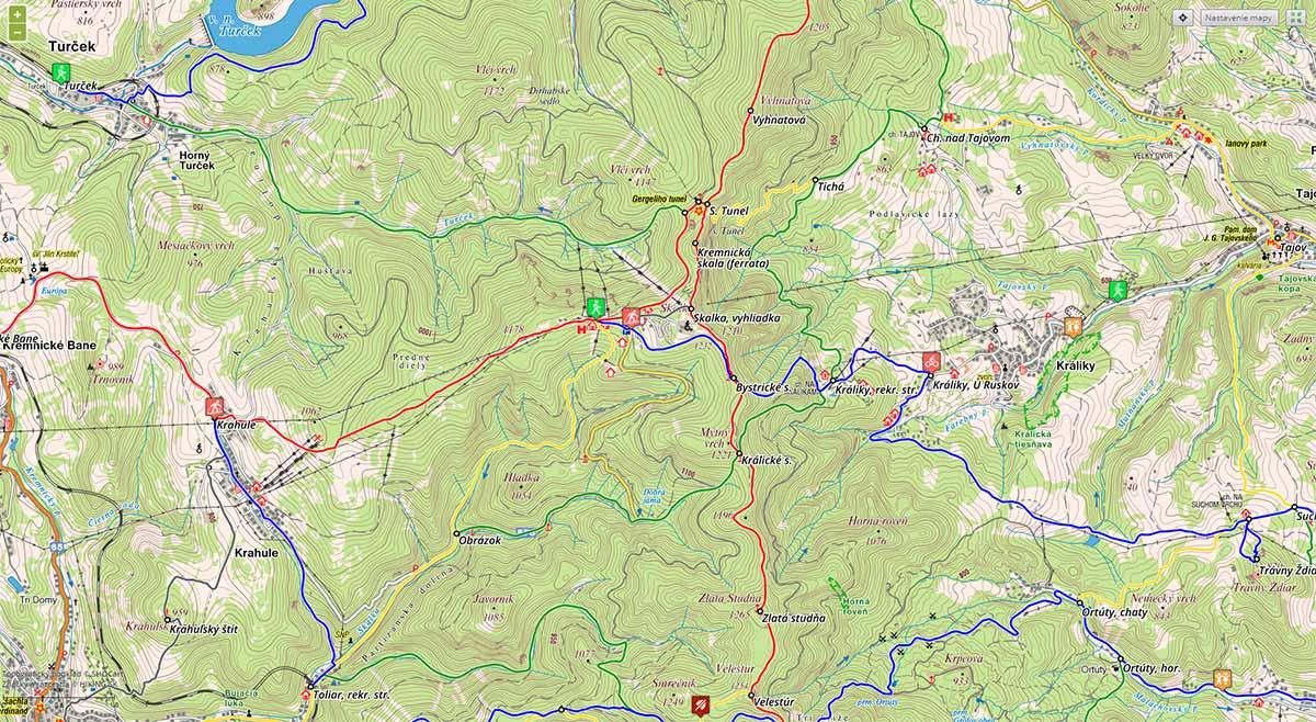 Skalka- turistické trasy/ cyklotrasy
